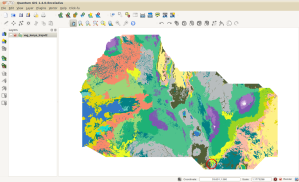 Vegetation map of central and southwest Kenya, opened in QGIS.